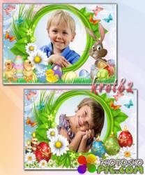 Пасхальные фоторамки для фото с яйцами, бабочками, цыплятами и зайцем