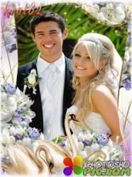 Свадебная фоторамка — Лебеди и обручальные кольца