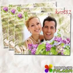 Свадебная фоторамка с двумя лебедями, кольцами и цветами