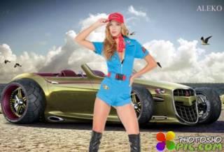 Женский шаблон для фотошопа - Любительница скорости