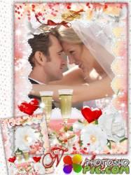 Свадебная рамка - На розах слезинка от счастья