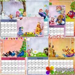 Настенный календарь для ребенка на 2016 год с рамками – Вини-пух, Фиксики, Рио, Маша и медведь