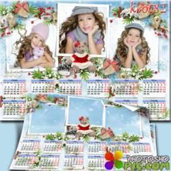 Настенный календарь с вырезами для фото на 2015 год с еловыми ветками и мохнатым мишкой