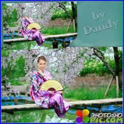 Шаблон для фотошопа - Девушка в кимоно