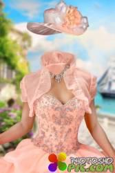 Шаблон женский для фотошопа – Бальное платье с балеро