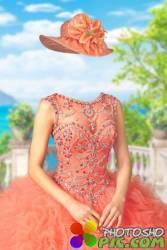 Шаблон для женских фото – Бальное платье с драгоценностями