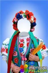 Шаблон для фотошопа – Девочка в национальном костюме