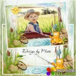 Детская рамка для фото - А наш кот-рыболов