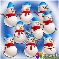 Забавные снеговички - Клипарт