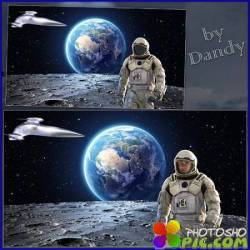 Шаблон для фотошопа - Пешком по луне