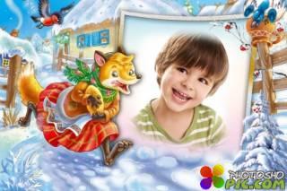 Детская рамка для фотошопа – Хитрая лисичка