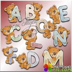 Мишки Тедди с буквами. 4 часть - Детский клипарт