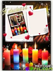 Романтическая фоторамка - Горит свеча, а сердце бьется